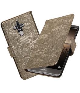 Hoesje voor Huawei Mate 9 Lace booktype Goud