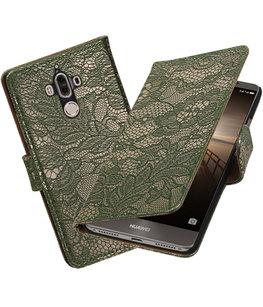 Hoesje voor Huawei Mate 9 Lace booktype Donker Groen