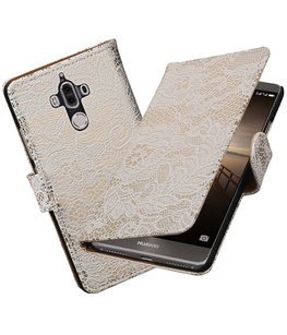 Hoesje voor Huawei Mate 9 Lace booktype Wit