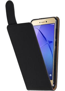 Hoesje voor Huawei P8 Lite 2017 / P9 Lite 2017 Effen Classic TPU flip Zwart