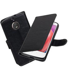 Zwart Portemonnee booktype Hoesje voor Motorola Moto E4