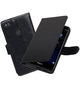 Zwart Portemonnee booktype Hoesje voor Huawei P10 Lite
