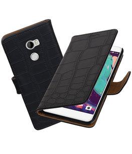 Hoesje voor HTC One X10 Krokodil booktype Zwart