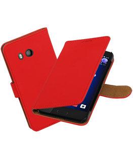 Hoesje voor HTC U11 Effen booktype Rood