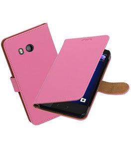 Hoesje voor HTC U11 Effen booktype Roze