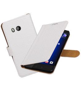 Hoesje voor HTC U11 Krokodil booktype Wit