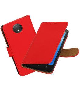 Hoesje voor Motorola Moto C Effen booktype Rood