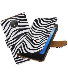 Hoesje voor Motorola Moto C Zebra booktype
