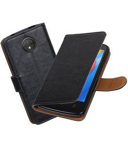 Hoesje voor Motorola Moto C Pull-Up booktype Zwart
