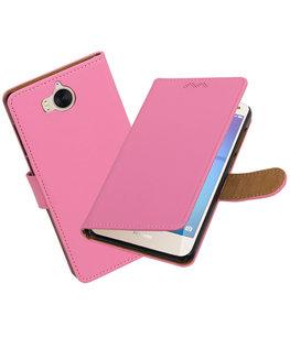 Hoesje voor Huawei Y5 2017 / Y6 2017 Effen booktype Roze