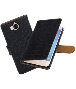 Hoesje voor Huawei Y5 2017 / Y6 2017 Krokodil booktype Zwart