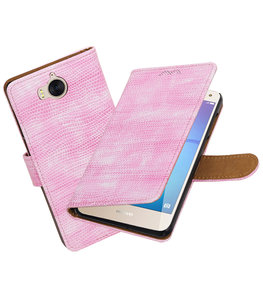 Hoesje voor Huawei Y5 2017 / Y6 2017 Mini Slang booktype Roze