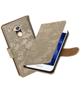 Hoesje voor Huawei Honor 6A Lace booktype Goud