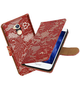 Hoesje voor Huawei Honor 6A Lace booktype Rood