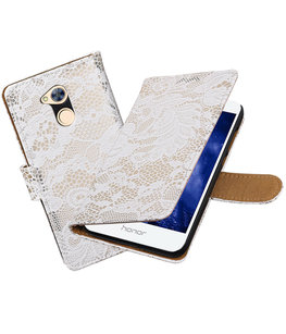 Hoesje voor Huawei Honor 6A Lace booktype Wit
