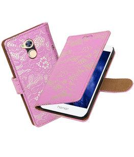 Hoesje voor Huawei Honor 6A Lace booktype Roze