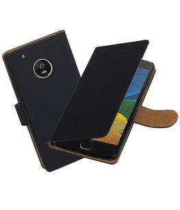 Hoesje voor Motorola Moto G5 Plus Effen booktype Zwart