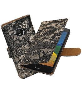 Hoesje voor Motorola Moto G5 Plus Lace Effen booktype Zwart