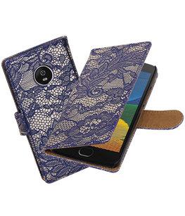 Hoesje voor Motorola Moto G5 Plus Lace Effen booktype Blauw