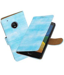 Hoesje voor Motorola Moto G5 Plus Mini Slang Effen booktype Turquoise