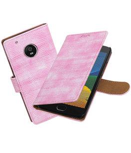 Hoesje voor Motorola Moto G5 Plus Mini Slang Effen booktype Roze