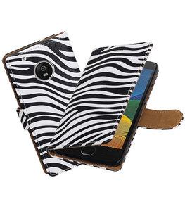 Hoesje voor Motorola Moto G5 Plus Zebra booktype