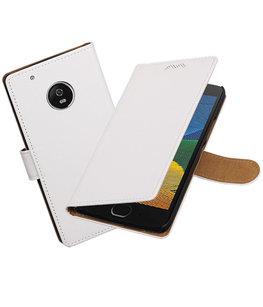 Hoesje voor Motorola Moto G5 Plus Effen booktype Wit