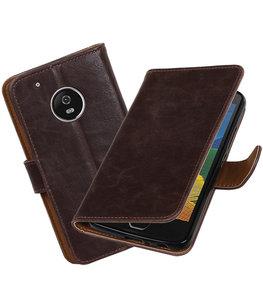 Hoesje voor Motorola Moto G5 Plus Pull-Up booktype Mocca