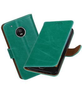 Hoesje voor Motorola Moto G5 Plus Pull-Up booktype Groen