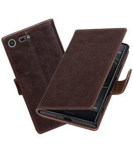 Hoesje voor Sony Xperia XZ Premium Pull-Up booktype Mocca
