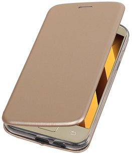 Hoesje voor Samsung Galaxy A7 2017 A720F Folio leder look booktype Goud