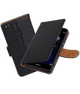Hoesje voor Huawei P10 Lite Echt Leer Leder booktype Zwart