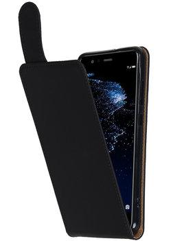 Hoesje voor Huawei Y5 2017 / Y6 2017 Effen Classic TPU flip Zwart