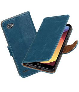 Hoesje voor LG Q6 Pull-Up booktype blauw