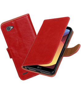 Hoesje voor LG Q6 Pull-Up booktype rood