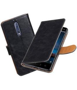 Hoesje voor Nokia 8 Pull-Up booktype zwart