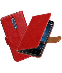 Hoesje voor Nokia 8 Pull-Up booktype rood