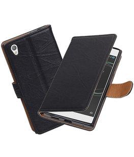 Hoesje voor Sony Xperia L1 Echt Leer Leder booktype Zwart