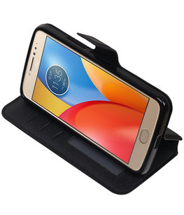 Zwart Hoesje voor Motorola Moto E4 TPU wallet case booktype HM Book