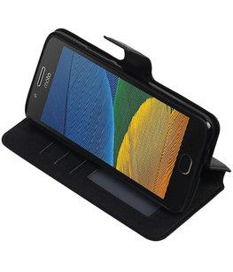Zwart Hoesje voor Motorola Moto G5 Plus TPU wallet case booktype HM Book