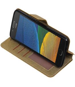 Goud Hoesje voor Motorola Moto G5 Plus TPU wallet case booktype HM Book