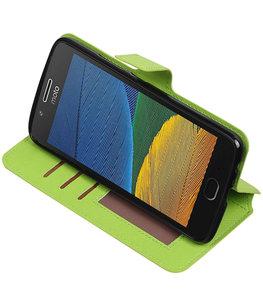 Groen Hoesje voor Motorola Moto G5 Plus TPU wallet case booktype HM Book