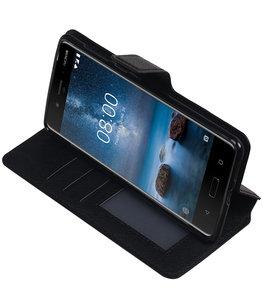Zwart Hoesje voor Nokia 8 TPU wallet case booktype HM Book