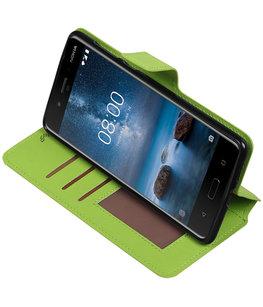 Groen Hoesje voor Nokia 8 TPU wallet case booktype HM Book