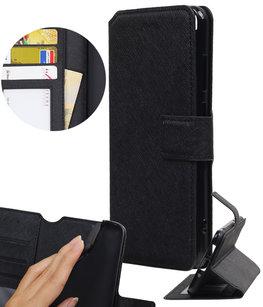 Zwart Hoesje voor Huawei P8 Lite 2017/ P9 Lite 2017 TPU wallet case booktype HM Book