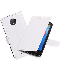 Wit Portemonnee booktype Hoesje voor Motorola Moto C