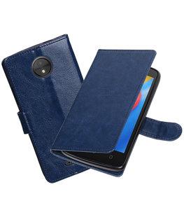 Donker Blauw Portemonnee booktype Hoesje voor Motorola Moto C