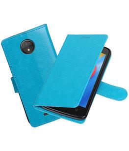 Turquoise Portemonnee booktype Hoesje voor Motorola Moto C