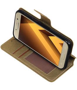 Goud Hoesje voor Samsung Galaxy A3 2017 TPU wallet case booktype HM Book