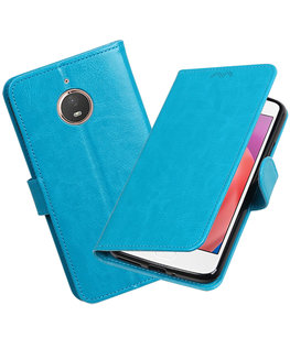 Turquoise Portemonnee booktype Hoesje voor Motorola Moto E4 Plus